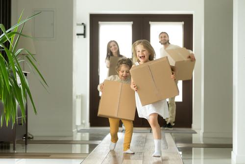 happy family moves in